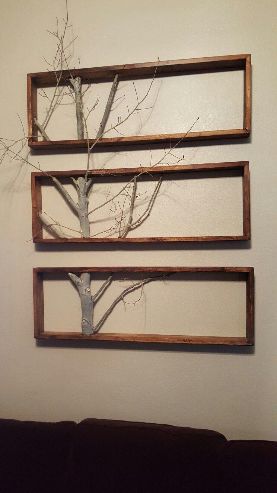 Framed Tree Branch Pallet Wall Decor Diy Wall Decor Wood Pallet Wall Decor