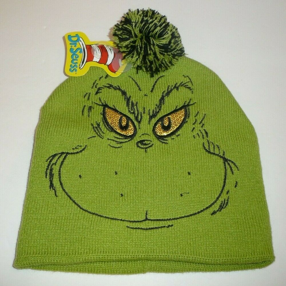 1ecb90660e0e4 The Grinch Beanie Hat Dr. Seuss How The Grinch Stole Christmas Green Face  Pom