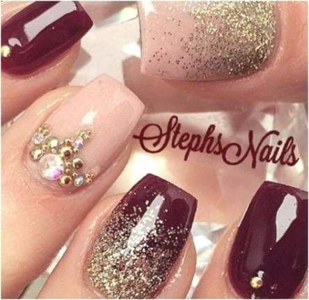 best maroon glitter nails ombre ideas in 2020  maroon
