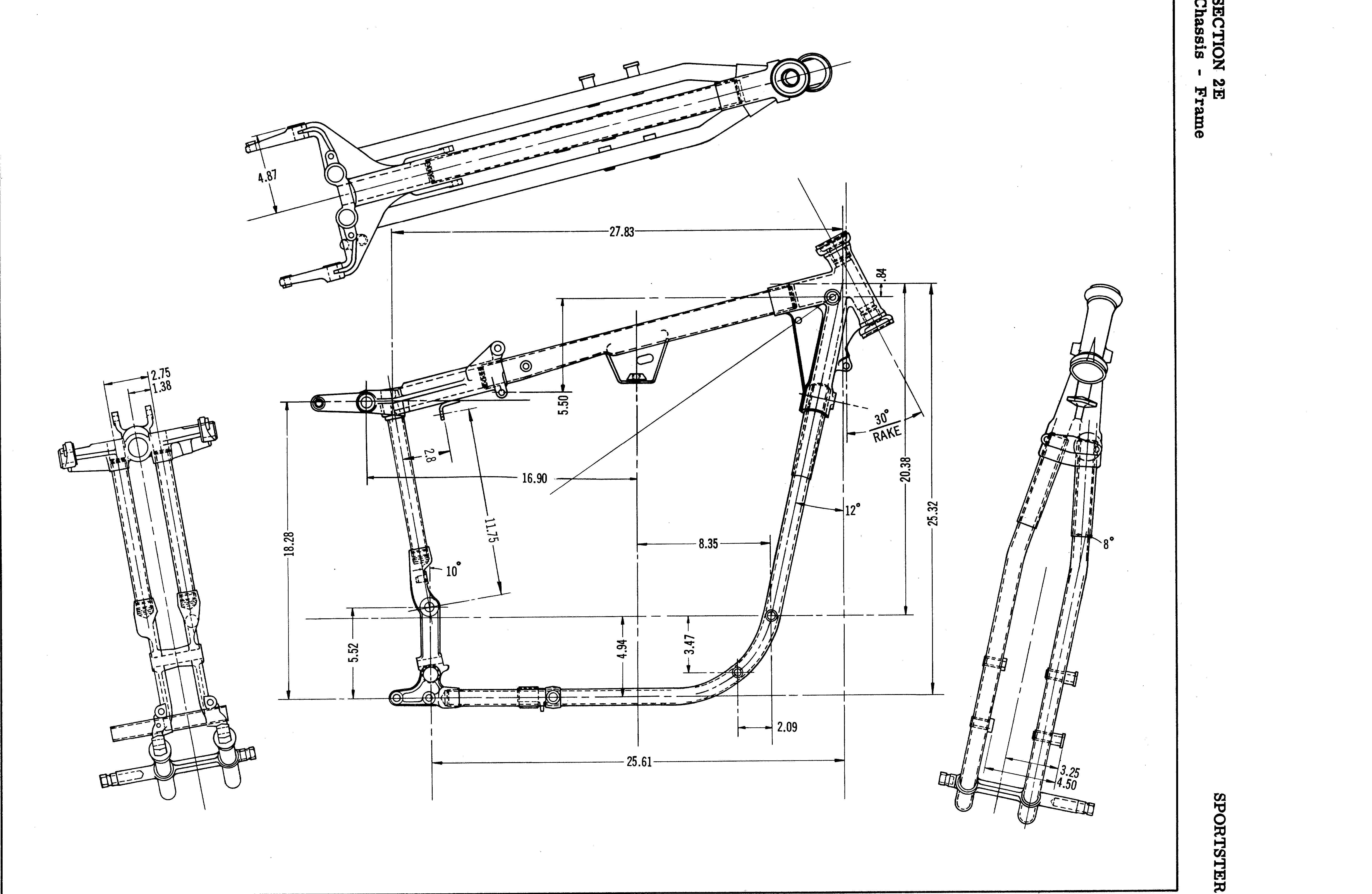 Harley Softail Frame Diagram Pwm Wiring For Hho Systems Ironhead Motorcycle Engines And Blueprints Pinterest Exploded View Iron 883 Engine Bobber Davidson