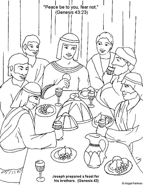 Joseph Forgives His Brothers Coloring Page Sunday School
