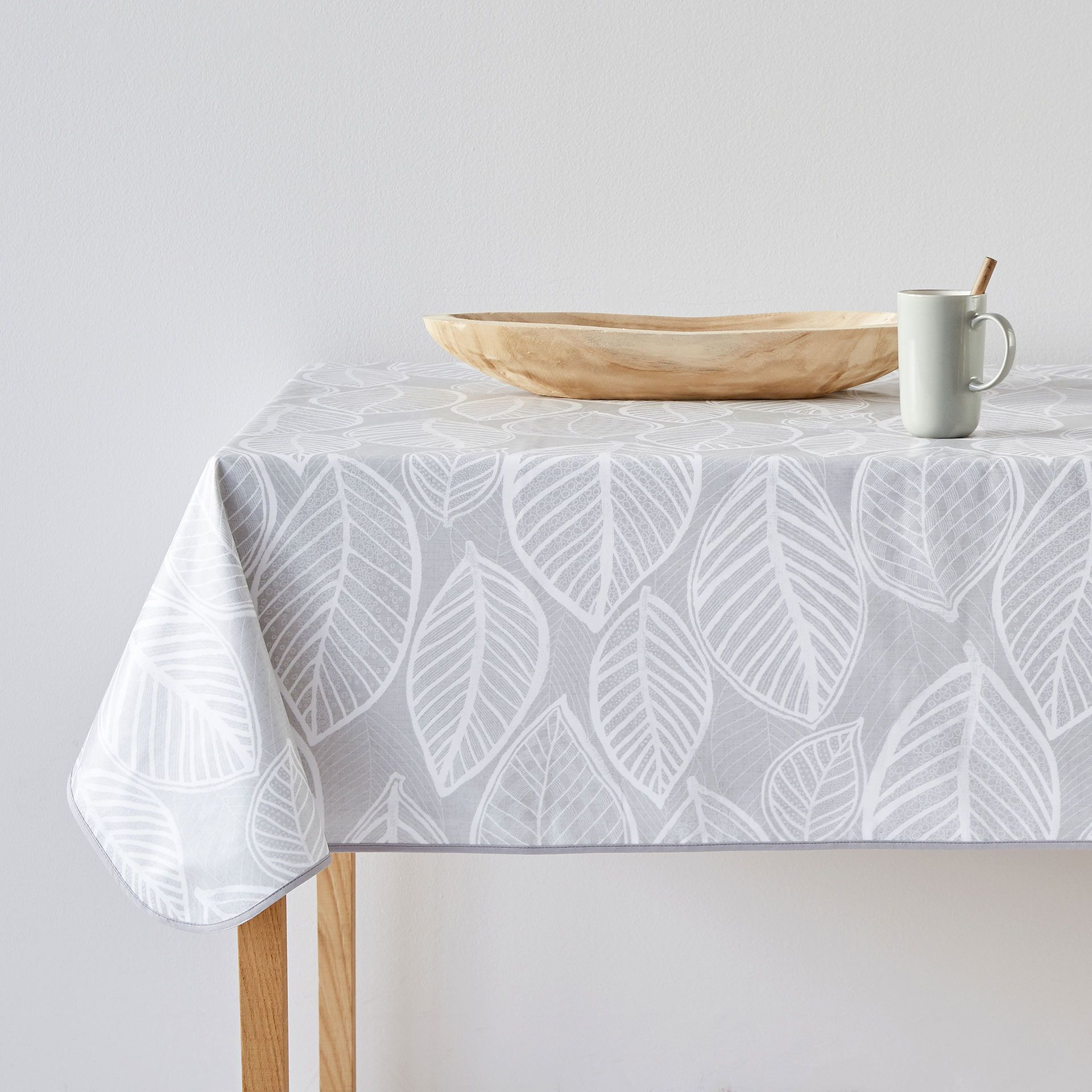 Image 1 Of The Product Grey Leaves Laminated Tablecloth