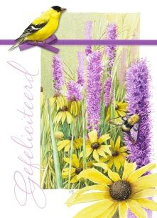 Marjolein Bastin kaart - gele-vogel-met-paarse-bloemen