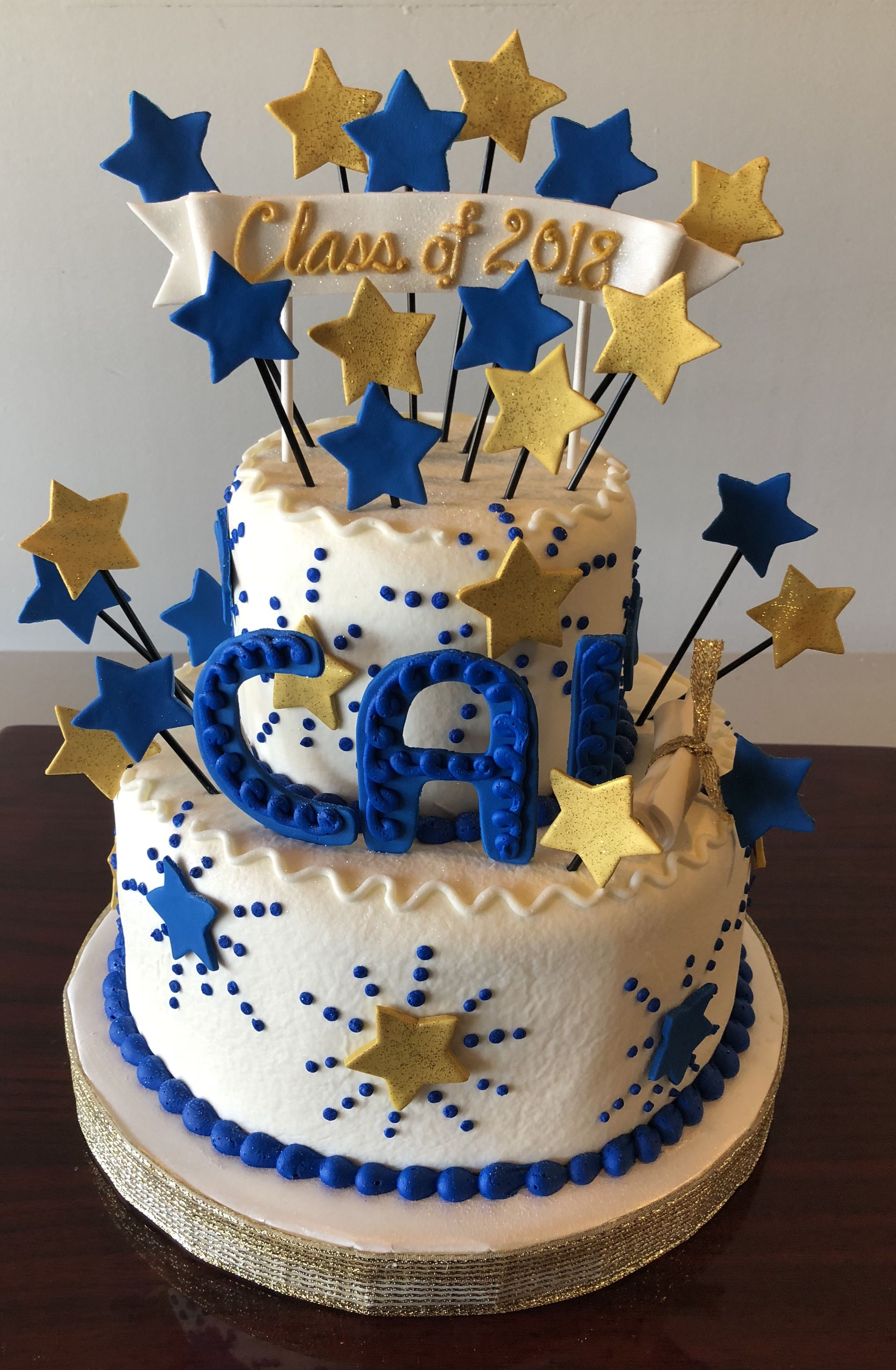 Blue And Gold Graduation Cake Adrienne Co Bakery With Images