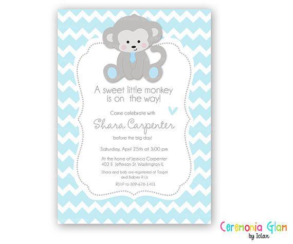 BABY SHOWER BOY chevron monkey grey and blue printable by ceremoniaGlam