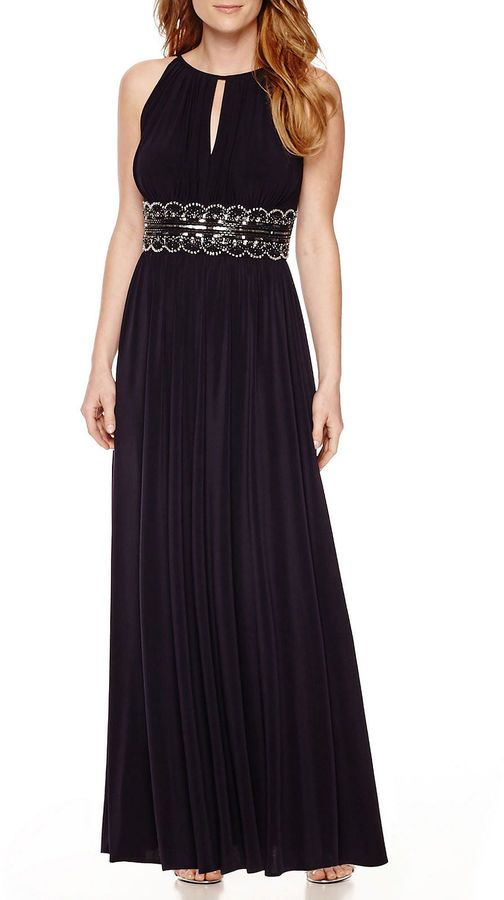 R & M Richards R&M Richards Sleeveless Beaded Formal Halter Gown ...