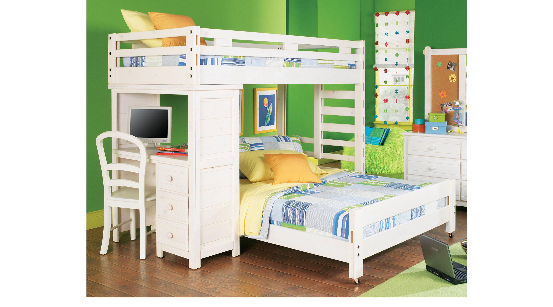 Creekside Stone Wash Twin Twin Student Loft Bed w Desk