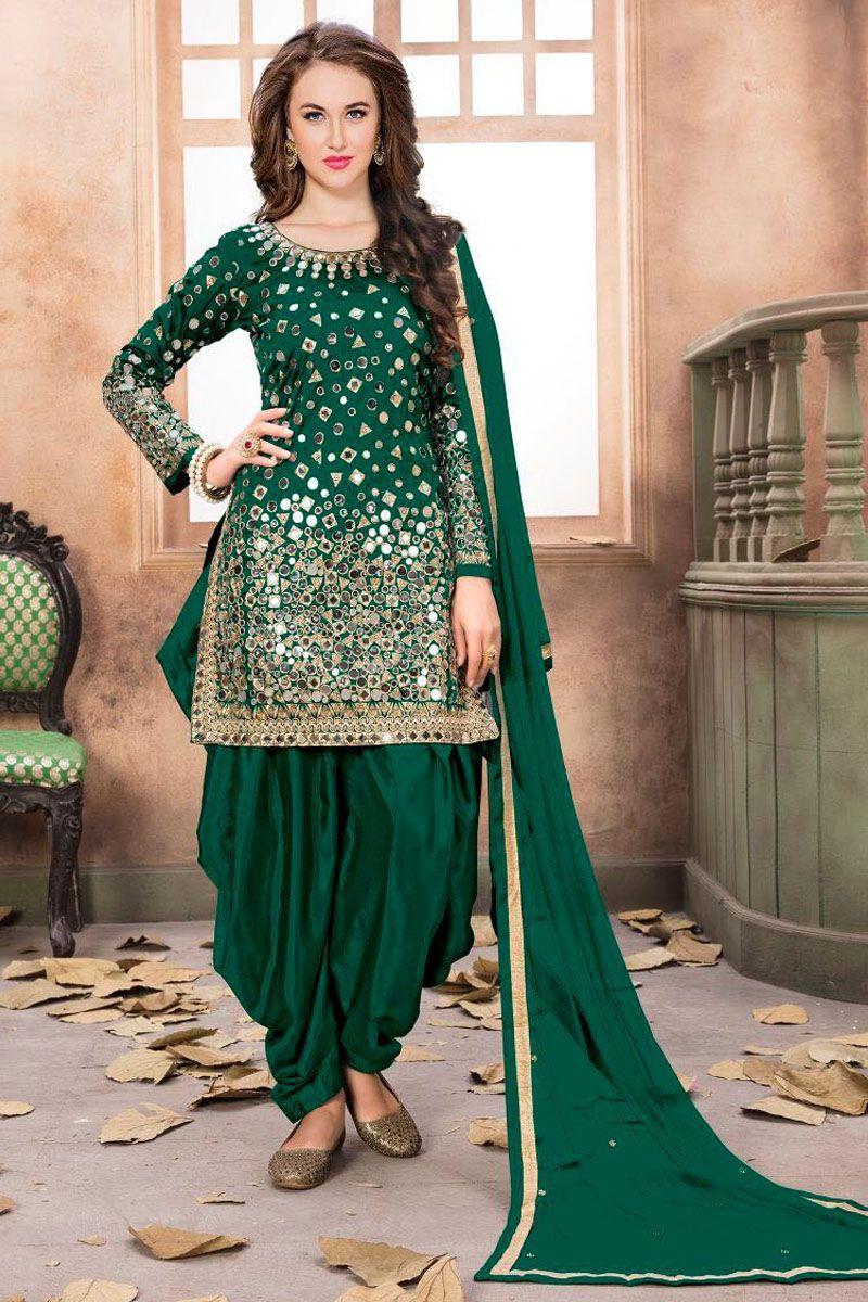 aca4bad36a Dark Green Color Tapheta Silk Fabric Indian Bride Traditional Fashion  Beautiful Mirror Work Designer Party Wear