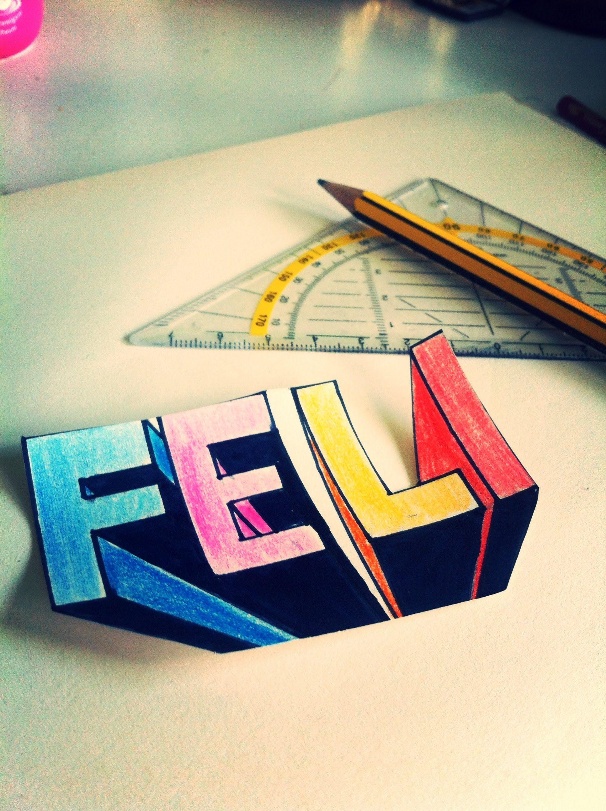 3D Buchstaben mit Fluchtpunkt zeichnen // Feli Draws | Malen Kunst ...
