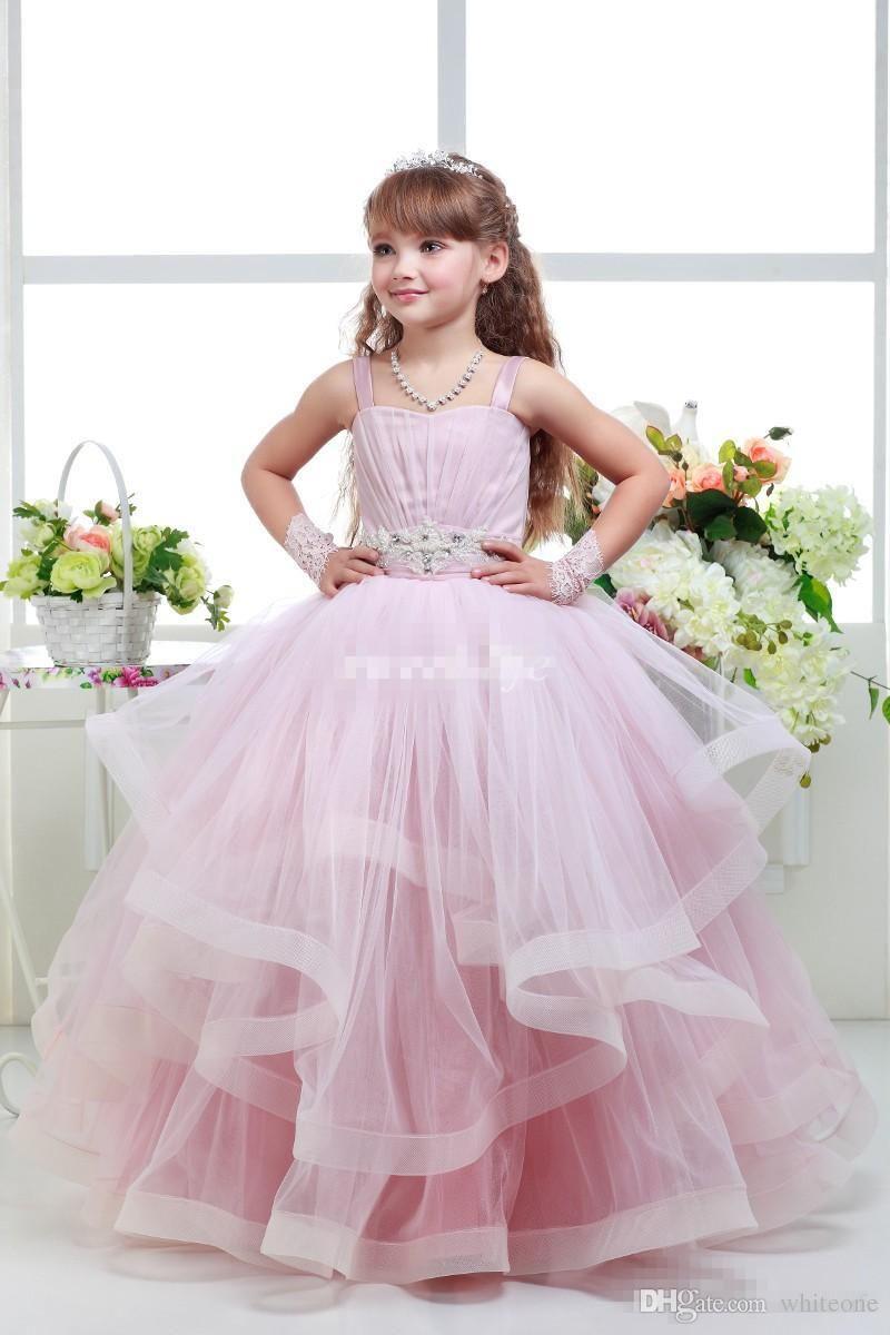 435a74d1277e 2016 Pink Ball Gown Wedding Flower Girl Dresses Tutu Spaghetti ...