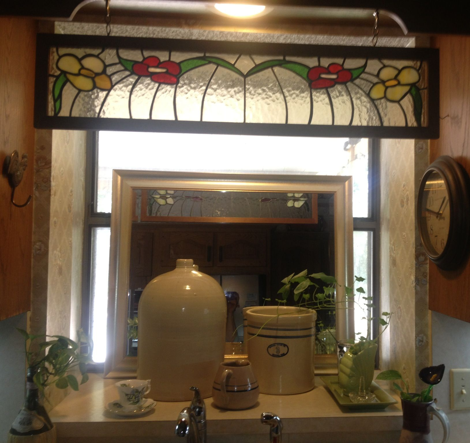 Kitchen Sink Window Curtain Ideas: Interesting Idea... Added Mirror In Kitchen Sink Window