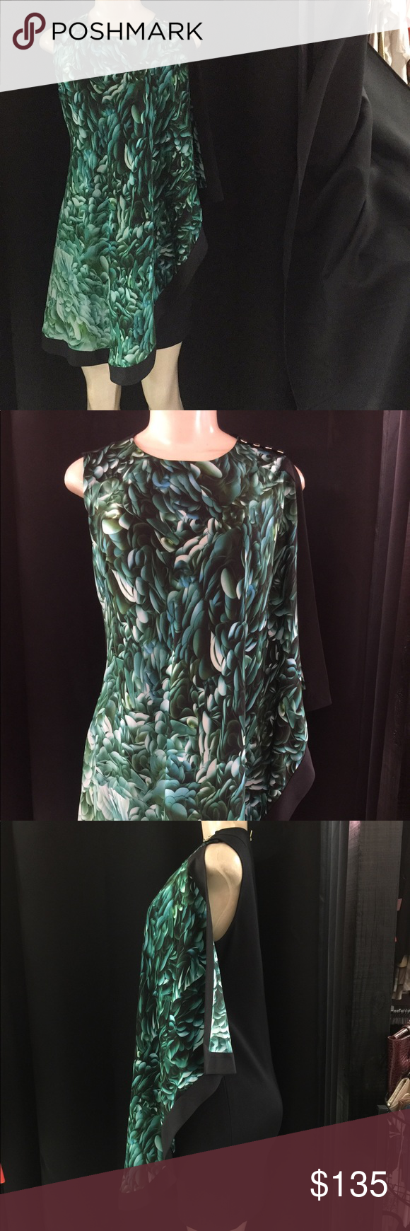 25db427e30ae7 Ted Baker Dress Designer Ted Baker dress Size 2 Colors are black green and  blues 4 Gold buttons at the top of Dress absolutely gorgeous dress Condition  Like ...