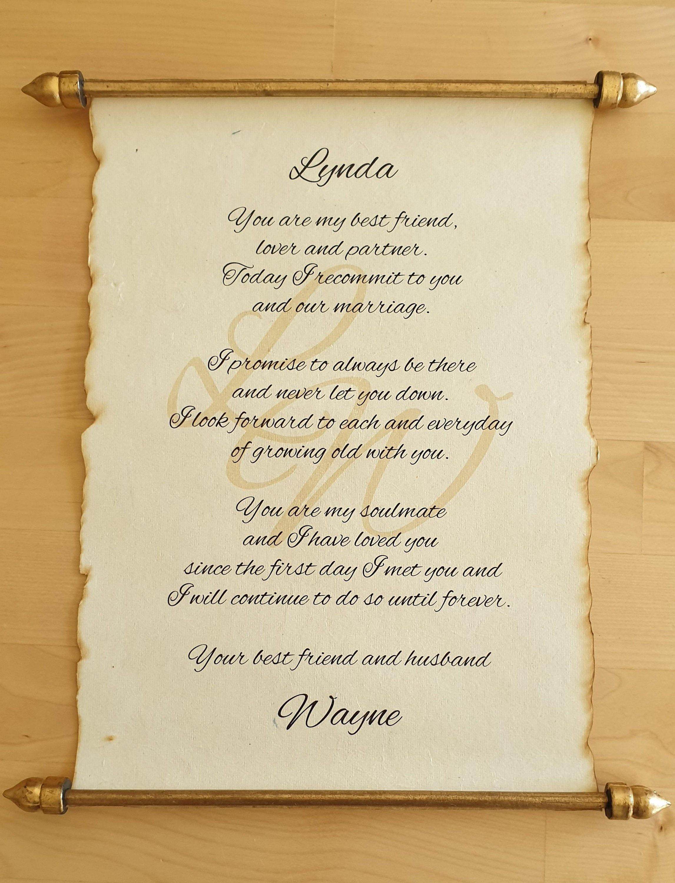 Wedding vows print scroll gift. Vintage proposal vow
