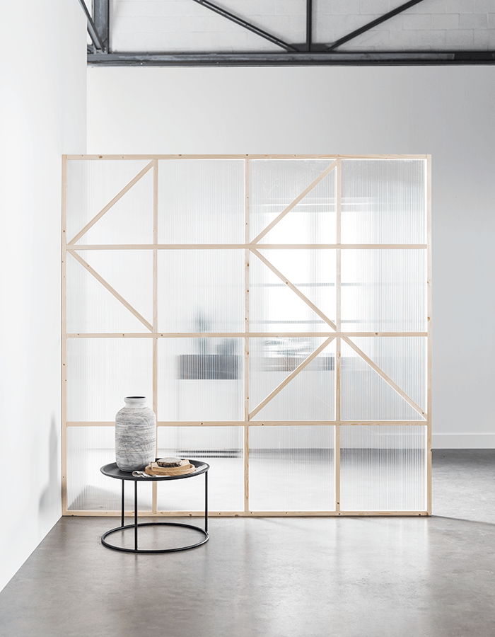 Transparante roomdivider eindresultaat Inspiring Spaces