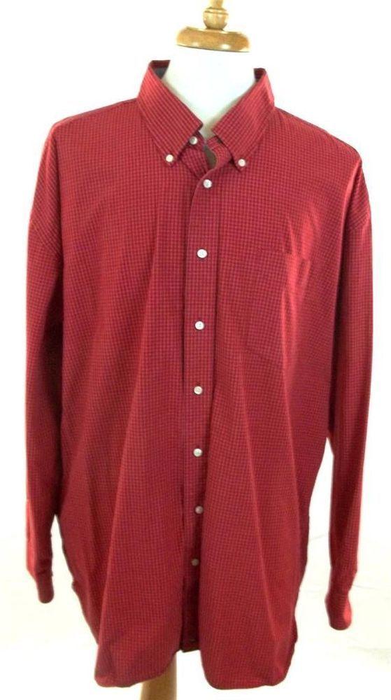 Tommy Hilfiger Shirt Red Multi-Color Checks Cotton Long Sleeve Mens XXXL 3XL #TommyHilfiger