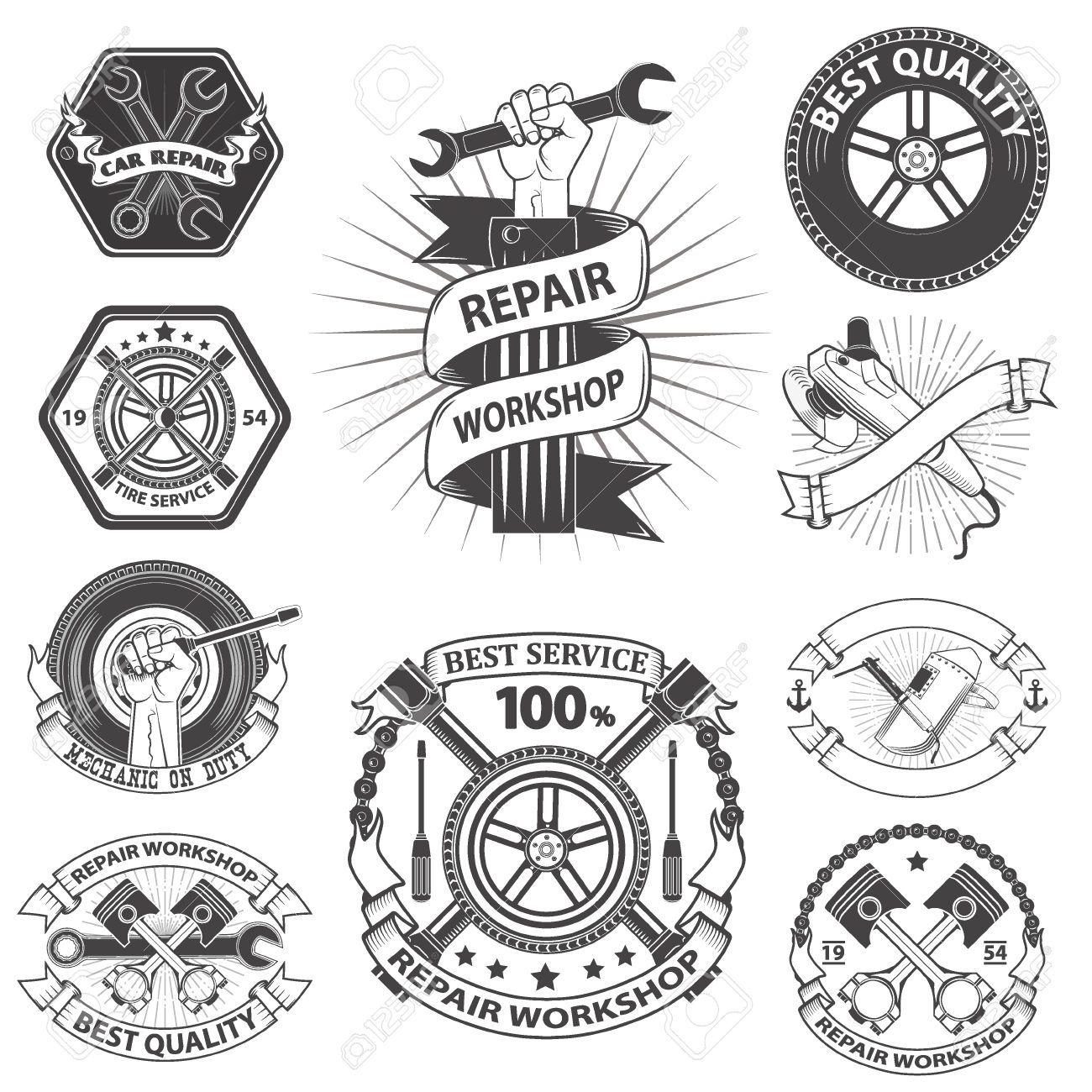 Logo Pour L Atelier De Reparation Mecanique Embleme Outils Mecaniciens Cle Plate Cle A Molette Main Ave Dessin Mecanique Tatouage Mecanique Cle A Molette