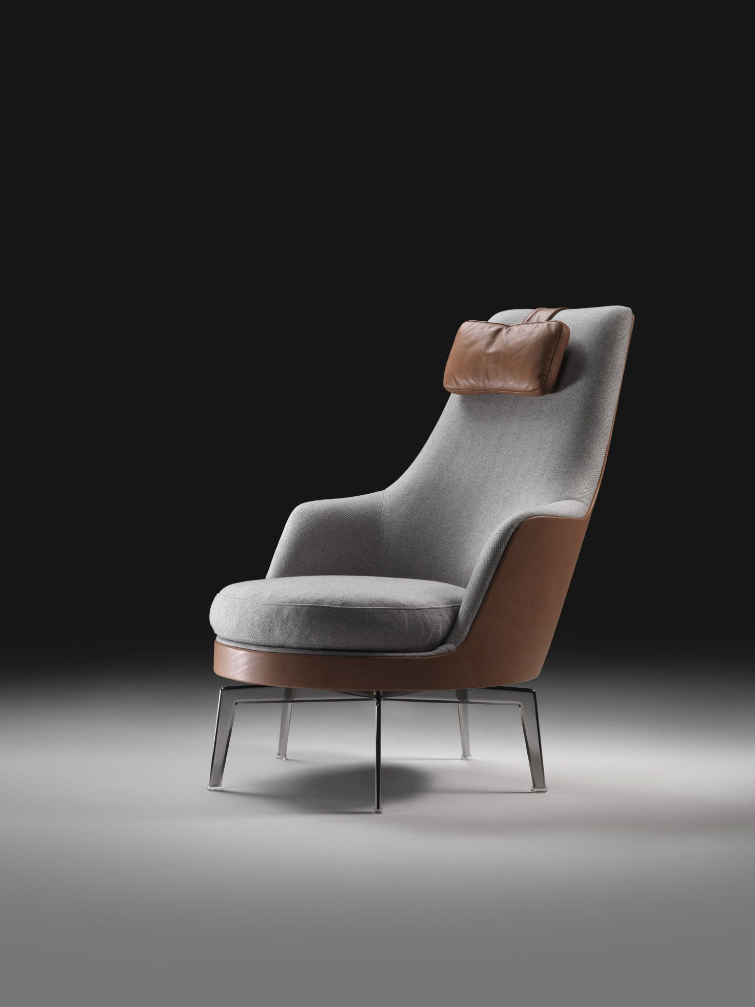 Moder Armchair Upholstered With Combination Of Lethaer Ans Cashemere