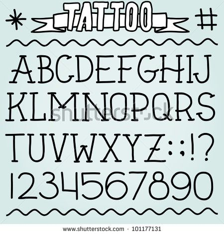 Old School Tattoo Alphabet And Numbers  Tattoos