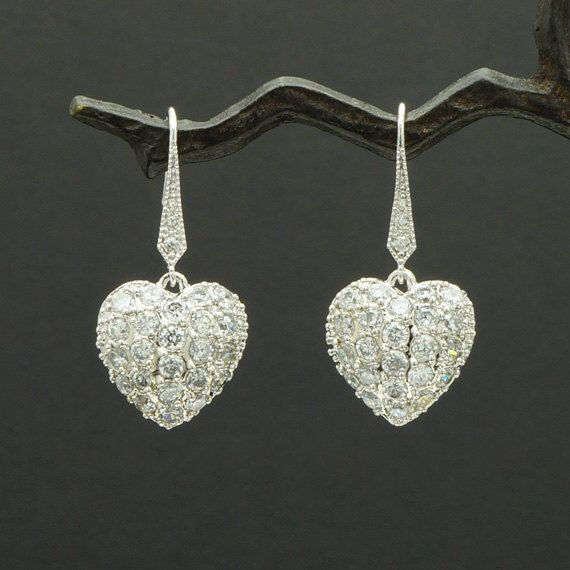 E160R / Tie Sparkle CZ Hook Earrings with Jewel Rich Heart Pendant by CreBijoux on Etsy https://www.etsy.com/listing/166831603/e160r-tie-sparkle-cz-hook-earrings-with