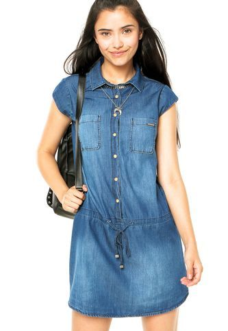 c28d4750b Vestido Jeans Colcci Chemise Azul