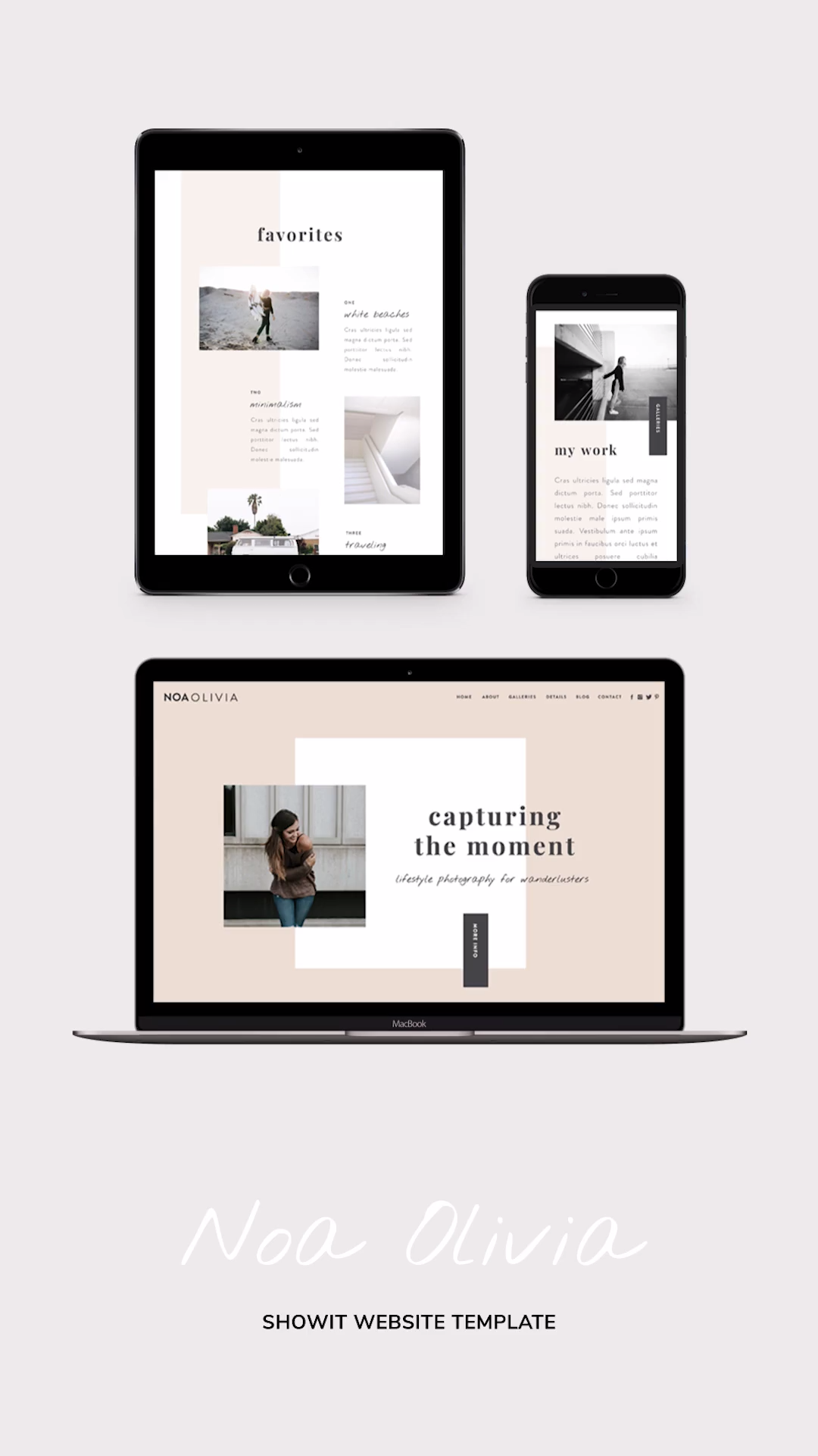 Minimalist Showit theme for the modern creative professional. A website template with a fresh minimal look. Noa Olivia is unique in it's simplicity and small details. Launch this editorial looking website today and share your story in a stunning and attractive way! #showit #website #template #design #inspiration #layout #business #creative #professional #minimalist #branding #modern #webdesign #love #ideas #best #clean #feminine #portfolio #top #simple #responsive #magazine #site #editoral #cool