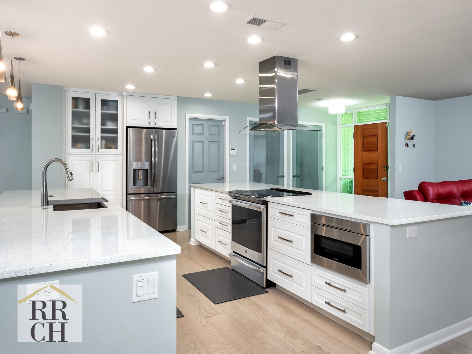 open kitchen with 2 islands view 2 of 3- stainless steel appliances