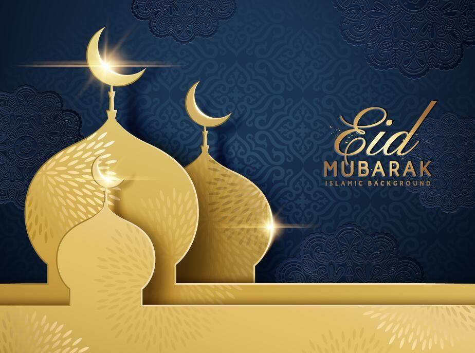 Fond sombre Eid mubarak avec vector construction or 03 - WeLoveSoLo