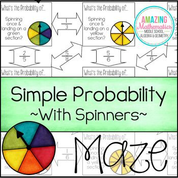 theoretical probability of simple events maze with spinners maze worksheets and students. Black Bedroom Furniture Sets. Home Design Ideas