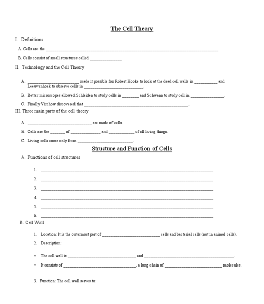 Cell Theory Printable | Classroom | Pinterest | Cell theory ...