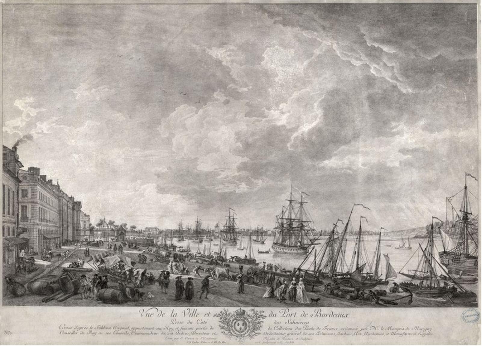Vue de la ville et du port de bordeaux prise du cot des salini res gravure l eau forte d - Joseph vernet le port de bordeaux ...