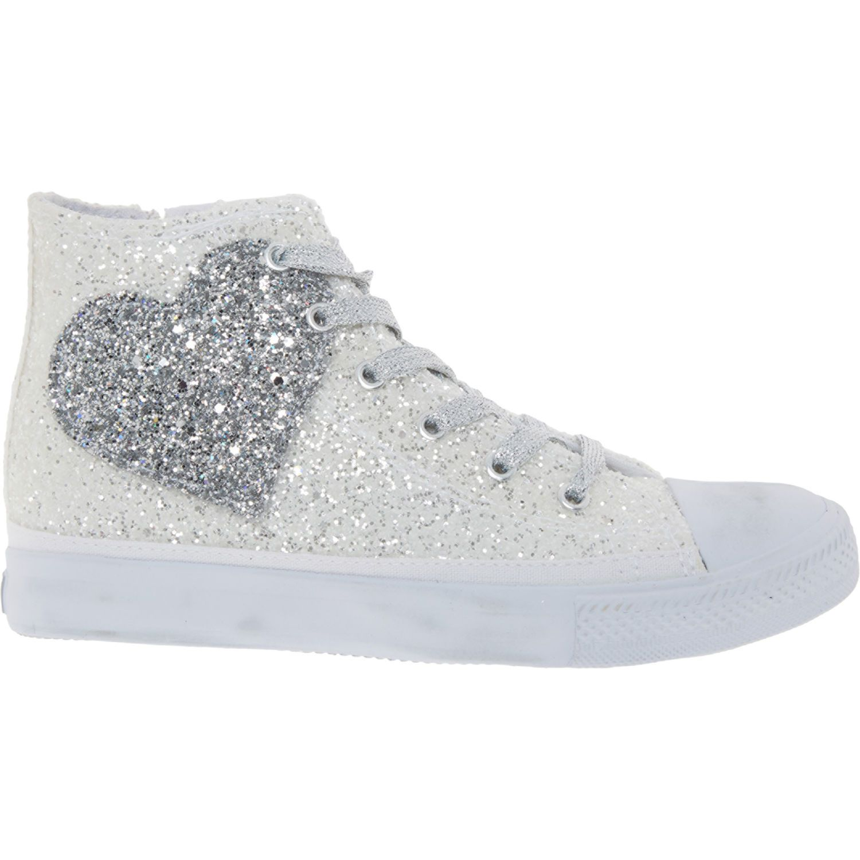 White Glitter Heart High Top Sneakers