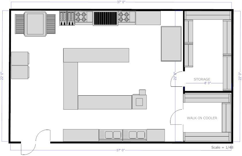 Restaurant Kitchen Layout Floor Plans Freelancers Jobs Equipment