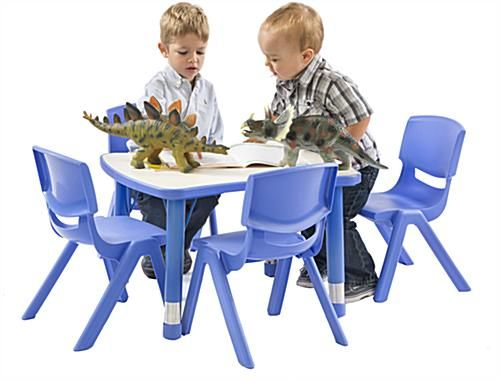 Matching table and chair sets are height adjustable for classrooms with different age groups!