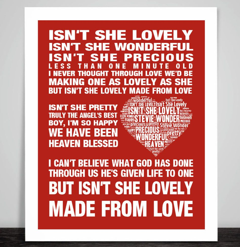 Stevie Wonder Isn't she lovely Music Love Song Lyric Print ...