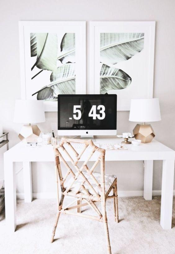 Work Desk Inspo Desk Scandi Monstera Fresh White Neutrals