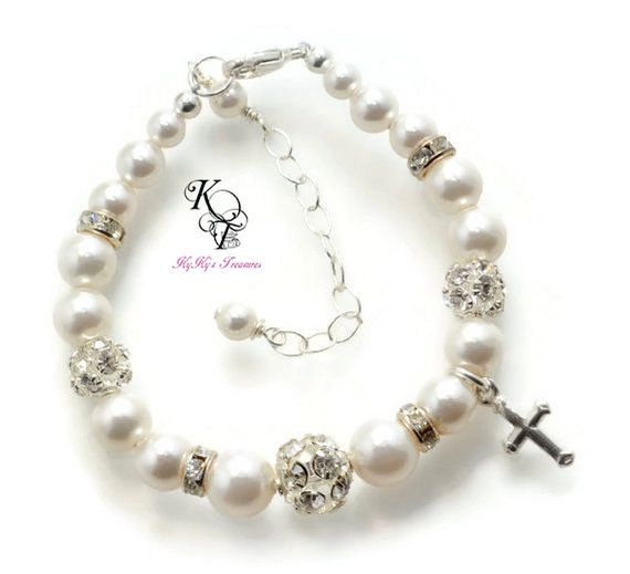 personalized baptism cross first gifts charm christening girls caelyn lilly white goddaughter confirmation communion for baby pin bracelet pearls