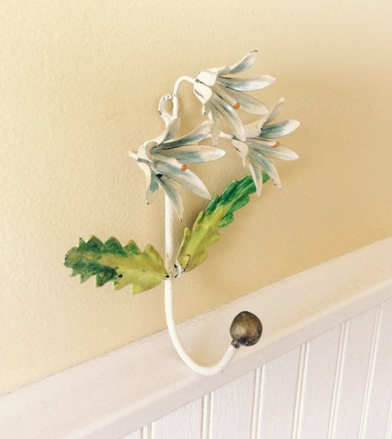 Vintage Handpainted Tole Flower Hook, Made in Italy, Wall Decor ...
