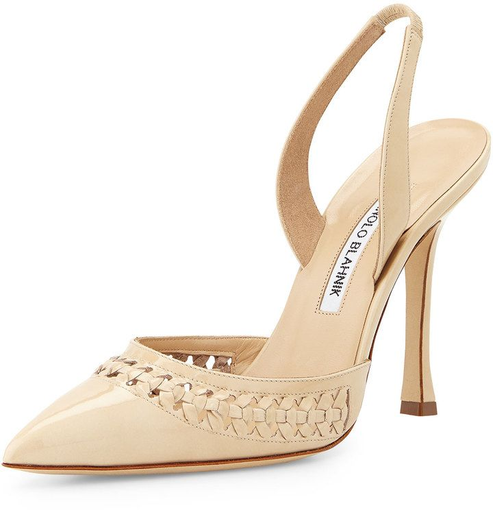 4ab87ac5 Bone Nave Leather Patent Pump Manolo Blahnik Woven S7UxqYq ...