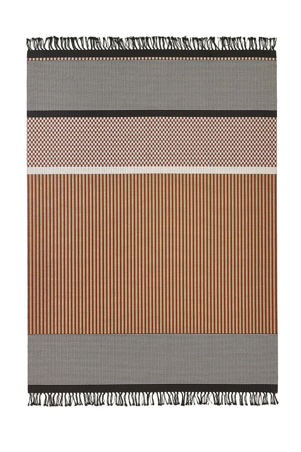 Woodnotes San Francisco paper yarn carpet col. reddish brown-stone. The San Francisco carpet's design is an asymmetrical combination of different vertical and horizontal stripes and squares. Design by Ritva Puotila  #interiordesign #homedecor #design #textile #rug #carpet #immcologne2017