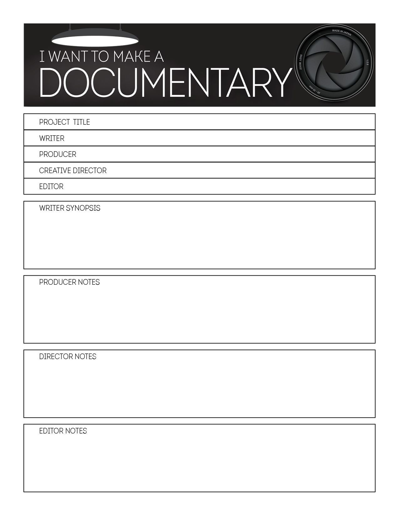 Storyboard Cover Template  Documentary Resources