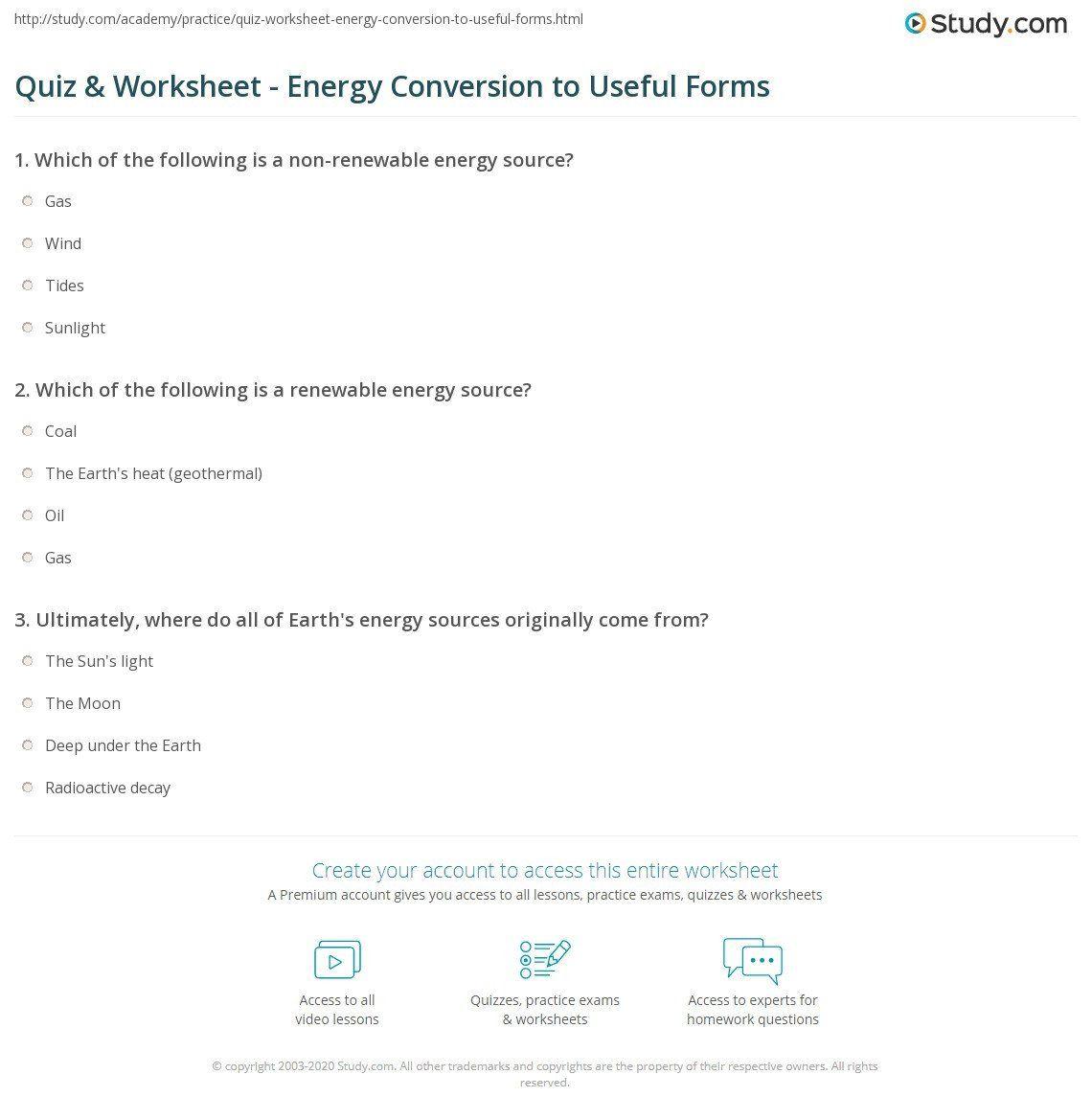 Energy Conversion Worksheet Answers Quiz Amp Worksheet