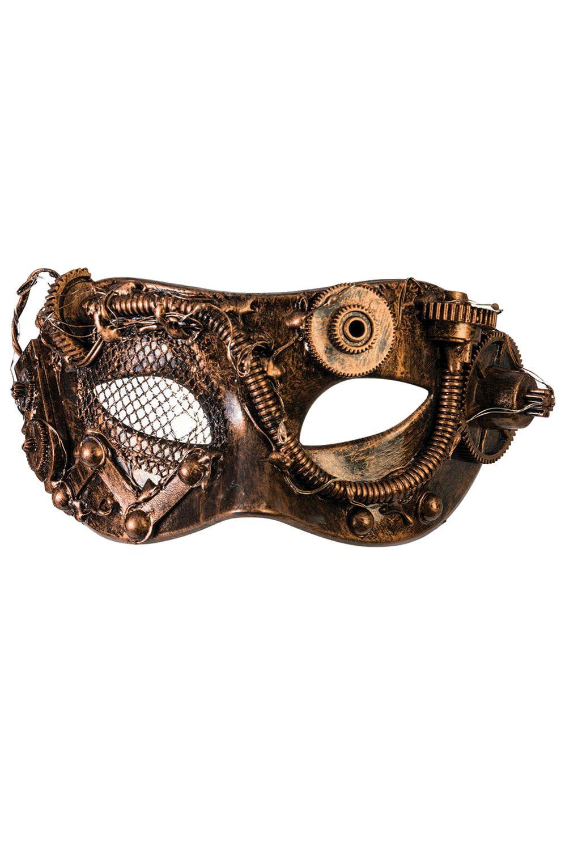 Black Gold Eye Gear /& Tube Steampunk Eye Men Masquerade Halloween Ball Mask