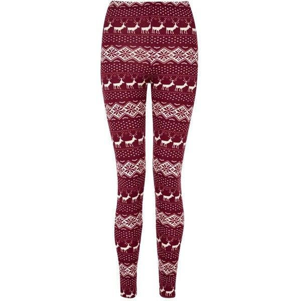Red and White Snowflake Fairisle Brushed Leggings ($7.14) ❤ liked on Polyvore featuring pants, leggings, bottoms, jeans, christmas pants, stretchy pants, snowflake christmas leggings, fair isle leggings and legging pants