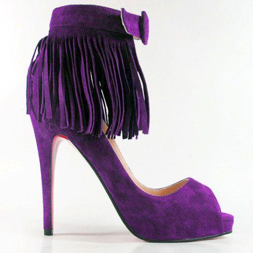 21b6a513ce0c Christian Louboutin Suede Fringe Pump Bright purple (Violet)