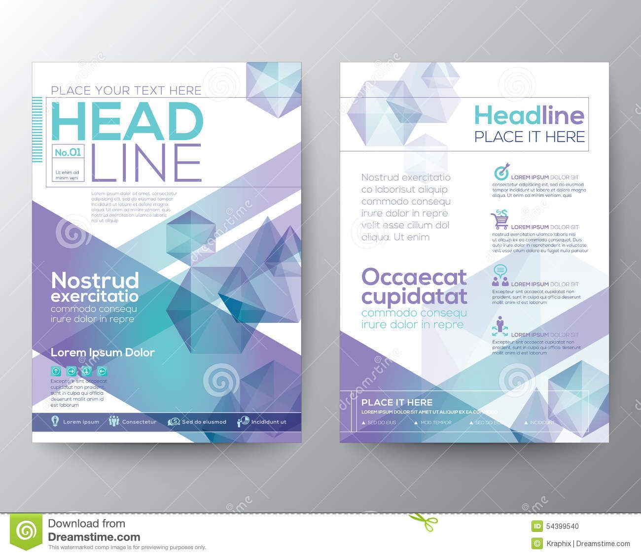 Vector Brochure Flyer Magazine: Abstract Polygon Design Vector Template Layout For