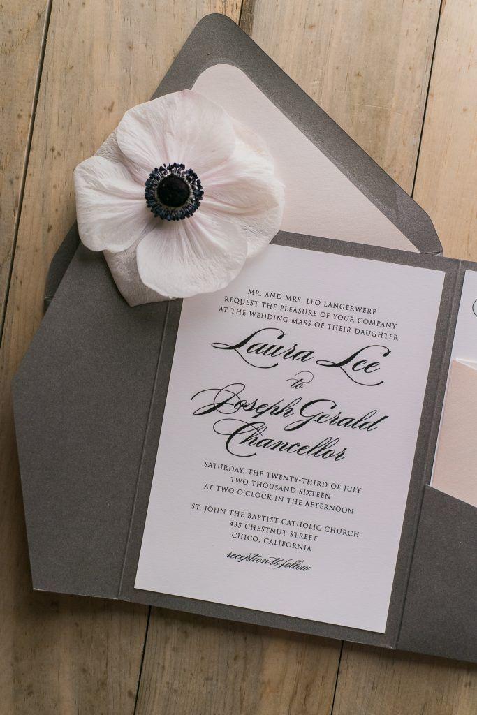 wedding stationery folders%0A SWOONWORTHY ELEGANT GREY AND BLUSH POCKET FOLDER WEDDING INVITATIONS    Grey and Bush Wedding