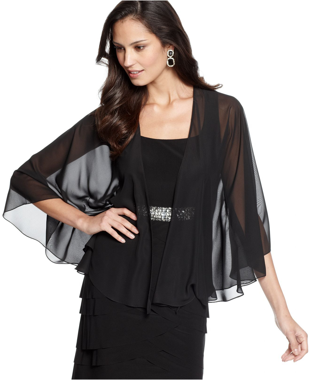 Alex Evenings Jacket, Sheer Capelet - Womens Jackets & Coats