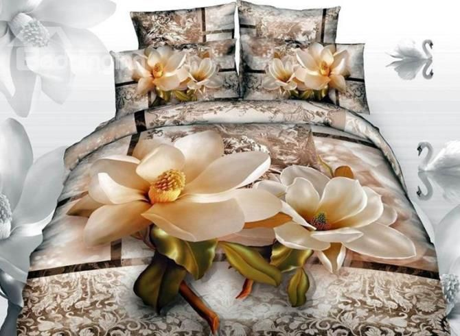 Bright Magnolia With Paisley Flower Print 3d Duvet Cover Sets