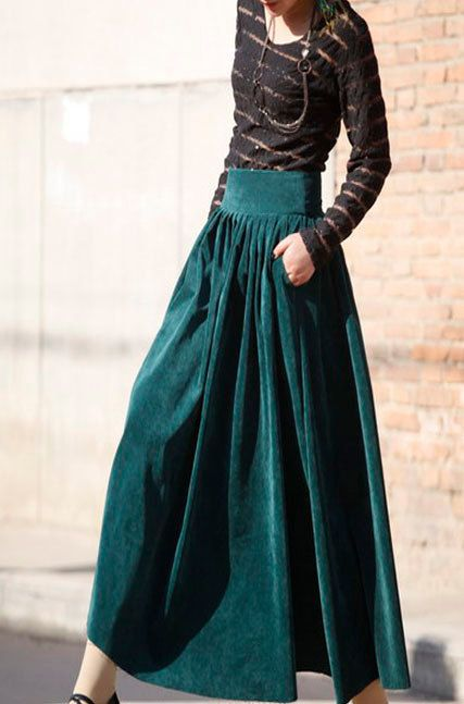 Green skirt maxi skirt long skirt pleated skirt by xiaolizi ...