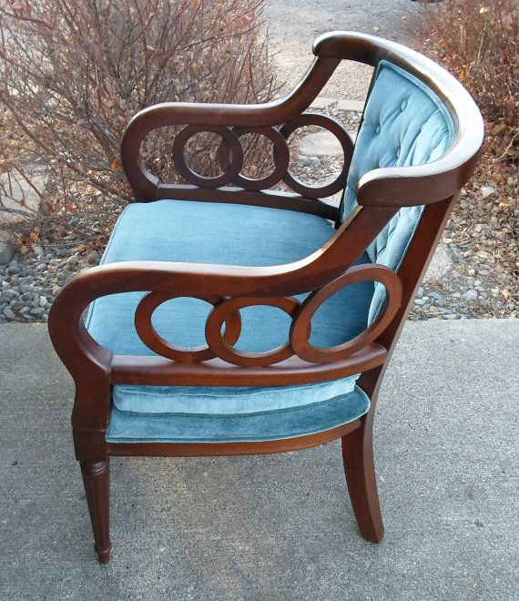 Vintage LEWITTES Hollywood Regency Club Chair Upholstered Chair Side Chair Traditional Plush Blue Velvet Dark Wanlut Finish Circles